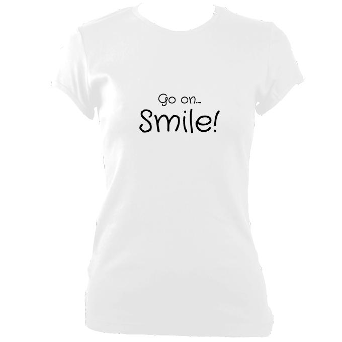 "update alt-text with template ""Go on, Smile"" Fitted T-shirt - T-shirt - White - Mudchutney"