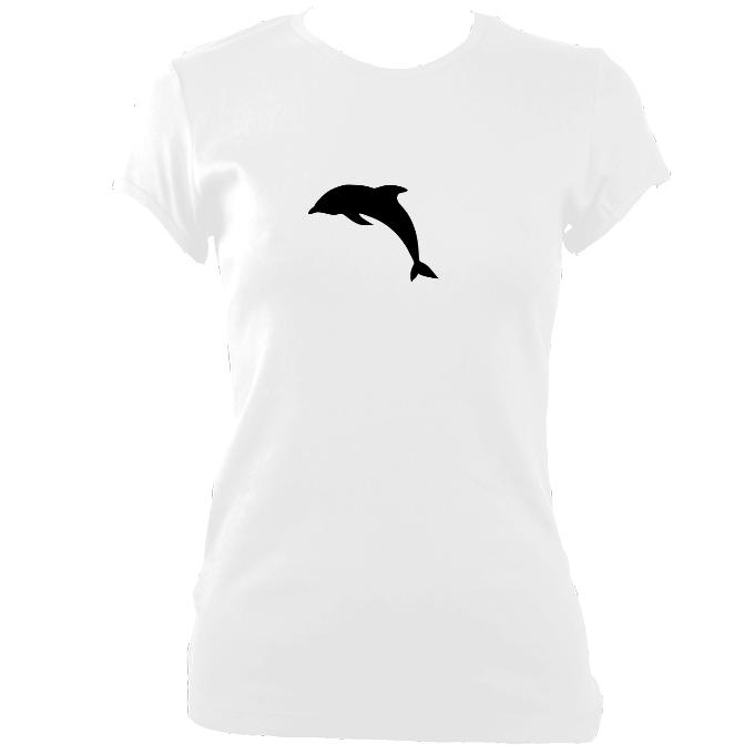 Womens leaping dolphin silhouette design fitted t-shirt - white