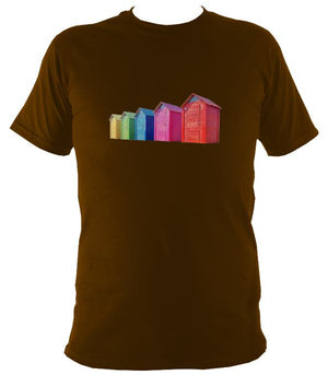 Rainbow Coloured Beach Huts T-shirt - T-shirt - Dark Chocolate - Mudchutney
