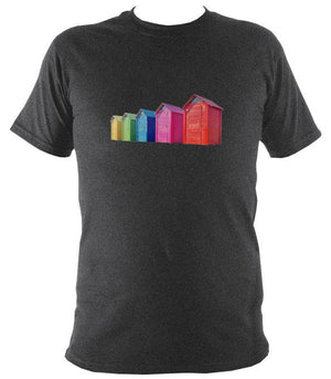 Rainbow Coloured Beach Huts T-shirt - T-shirt - Dark Heather - Mudchutney