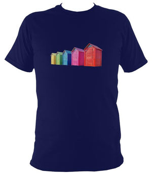 Rainbow Coloured Beach Huts T-shirt - T-shirt - Navy - Mudchutney