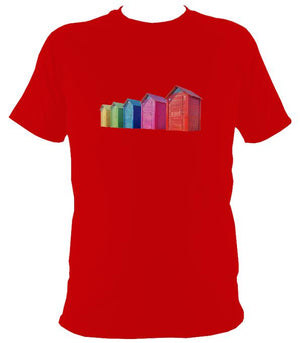 Rainbow Coloured Beach Huts T-shirt - T-shirt - Red - Mudchutney