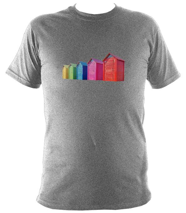 Rainbow Coloured Beach Huts T-shirt - T-shirt - Sport Grey - Mudchutney