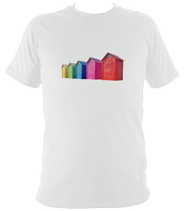Rainbow Coloured Beach Huts T-shirt - T-shirt - White - Mudchutney