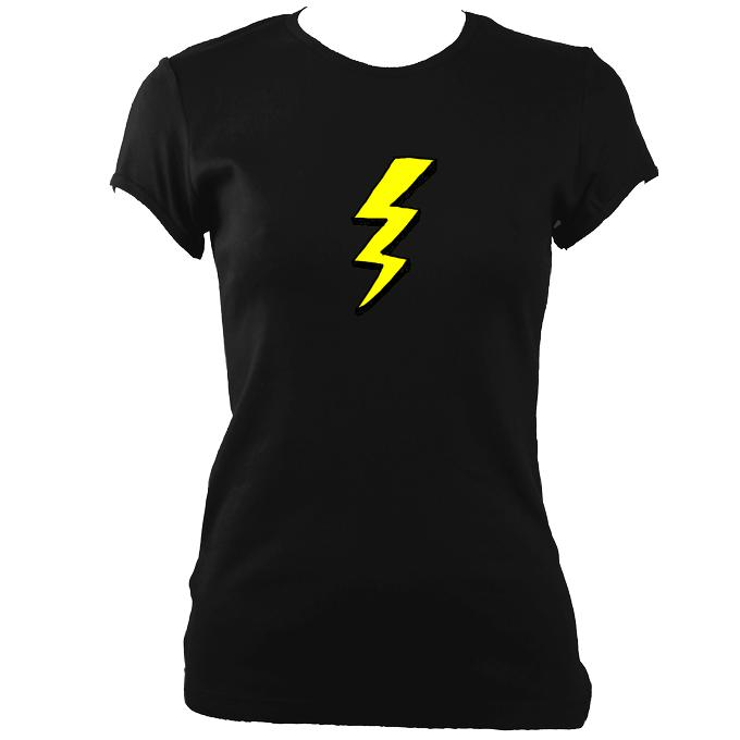 update alt-text with template Lightening Fitted T-Shirt - T-shirt - Black - Mudchutney