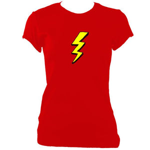 update alt-text with template Lightening Fitted T-Shirt - T-shirt - Red - Mudchutney
