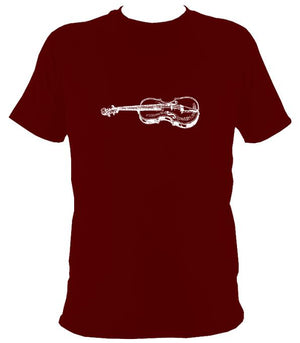 Fiddle Sketch T-Shirt - T-shirt - Maroon - Mudchutney
