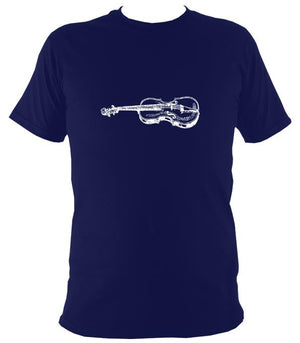 Fiddle Sketch T-Shirt - T-shirt - Navy - Mudchutney