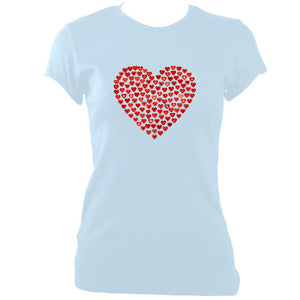 update alt-text with template Women's Love Heart Fitted T-Shirt - T-shirt - Light Blue - Mudchutney