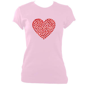 update alt-text with template Women's Love Heart Fitted T-Shirt - T-shirt - Light Pink - Mudchutney