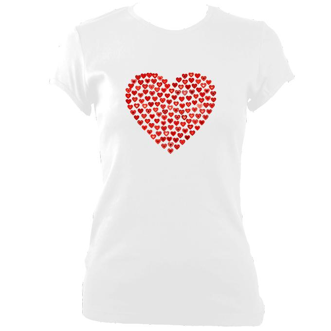 update alt-text with template Women's Love Heart Fitted T-Shirt - T-shirt - Black - Mudchutney
