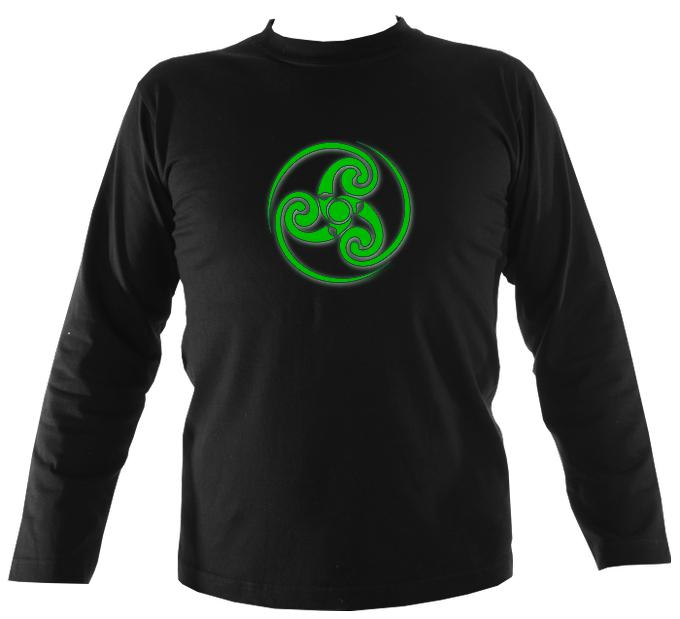 Green Swirling Celtic Spiral Mens Long Sleeve Shirt