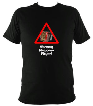 Warning Melodeon Player T-Shirt - T-shirt - Black - Mudchutney