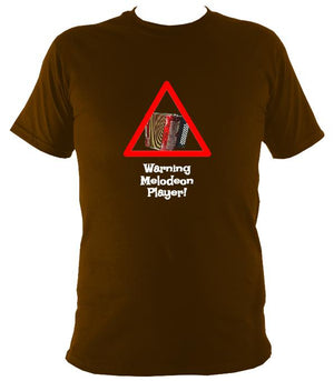 Warning Melodeon Player T-Shirt - T-shirt - Dark Chocolate - Mudchutney