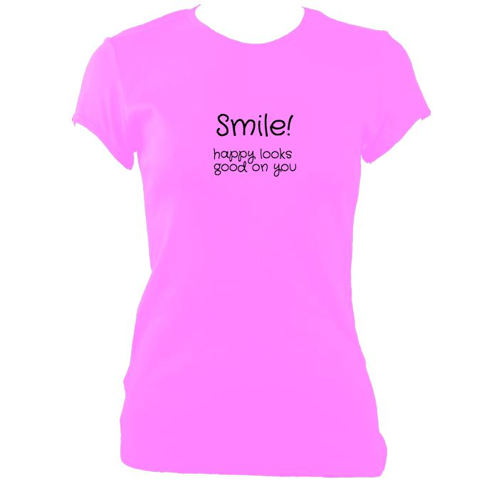 update alt-text with template Smile Happy Looks Good Fitted T-Shirt - T-shirt - Azalea - Mudchutney