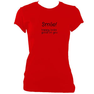 update alt-text with template Smile Happy Looks Good Fitted T-Shirt - T-shirt - Red - Mudchutney