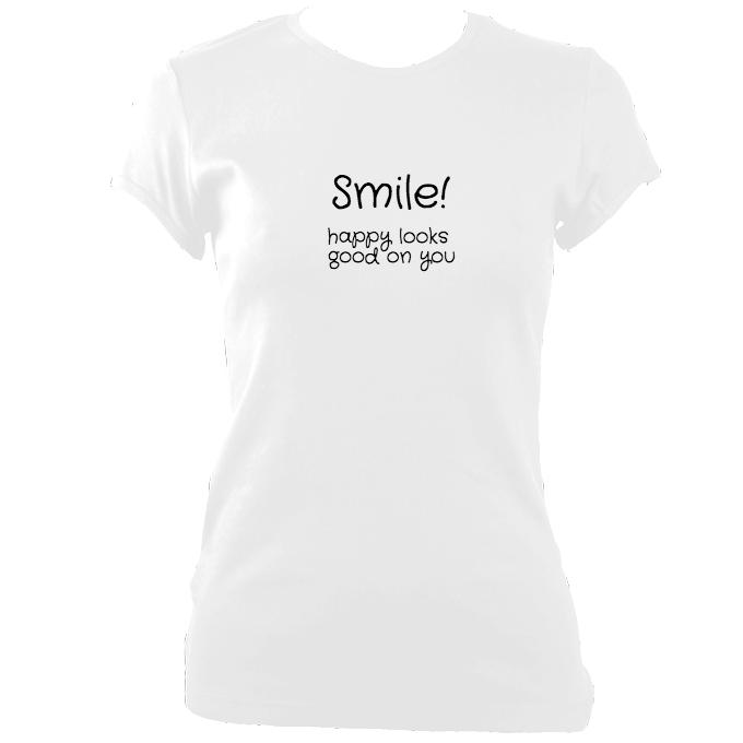 update alt-text with template Smile Happy Looks Good Fitted T-Shirt - T-shirt - White - Mudchutney