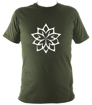 Geometric Flower T-Shirt - T-shirt - Military Green - Mudchutney