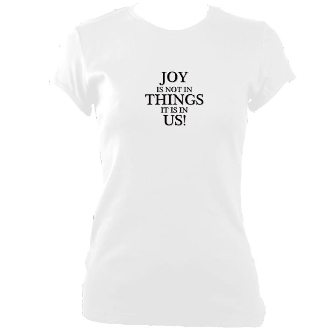 "update alt-text with template ""Joy is in us not Things"" Fitted T-shirt - T-shirt - White - Mudchutney"