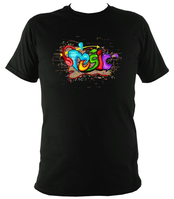 Music Graffiti T-Shirt - T-shirt - Black - Mudchutney