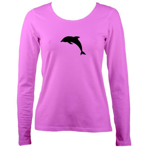 Dolphin image on ladies long sleeve shirt in bright pink
