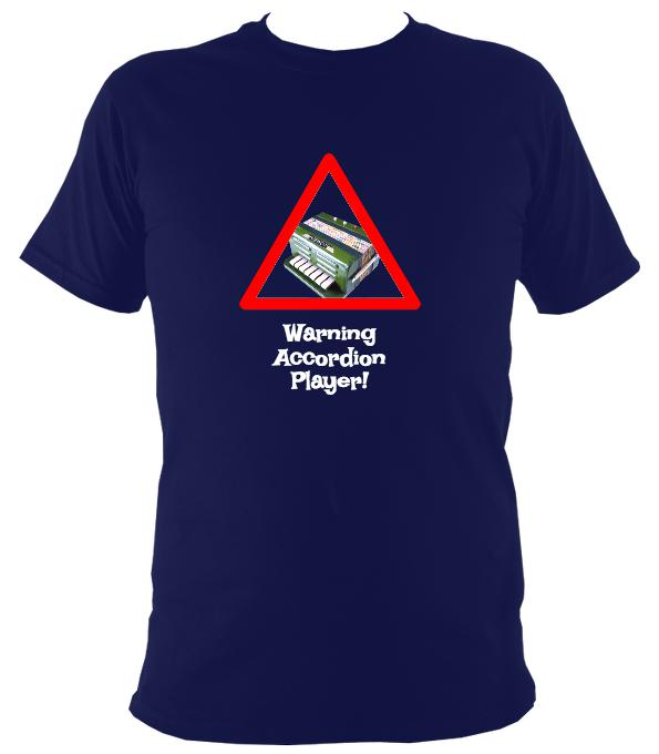 Warning Accordion Player T-Shirt - T-shirt - Navy - Mudchutney