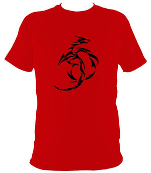Tribal Dragon T-shirt - T-shirt - Red - Mudchutney