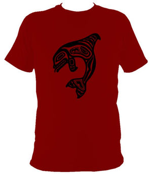 Tribal Style Shark T-shirt - T-shirt - Cardinal Red - Mudchutney