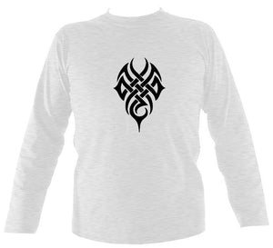 Tribal tattoo design men's long sleeve shirt in Ash colour