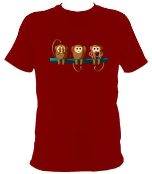Play No Melodeon Monkeys T-shirt - T-shirt - Cardinal Red - Mudchutney