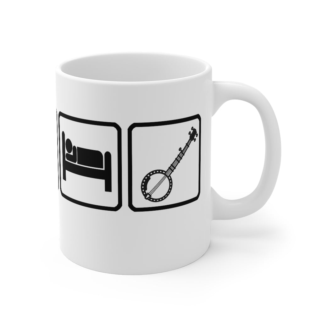 Eat, Sleep & Play Banjo Mug | For Bluegrass / Folk Banjo Fans | Musical themed gifts and mugs