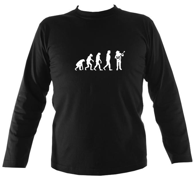 Evolution of Banjo Players Mens Long Sleeve Shirt - Long Sleeved Shirt - Black - Mudchutney