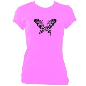 update alt-text with template Ladies Ornate Butterfly Design Fitted T-shirt - T-shirt - Azalea - Mudchutney