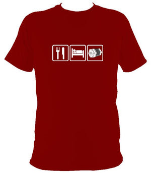 Eat, Sleep, Play Concertina T-shirt - T-shirt - Cardinal Red - Mudchutney