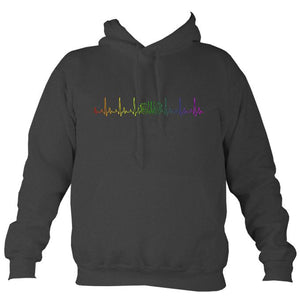 Heartbeat Concertina in Rainbow Colours Hoodie-Hoodie-Charcoal-Mudchutney