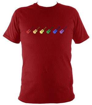 Rainbow of Coloured Guitars T-Shirt - T-shirt - Antique Cherry Red - Mudchutney