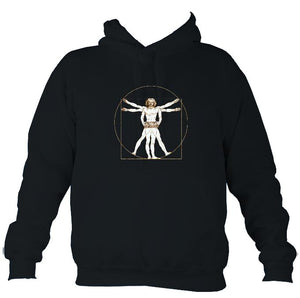Da Vinci Vitruvian Man Playing Concertina Hoodie-Hoodie-French navy-Mudchutney
