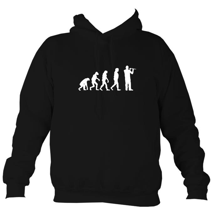 Evolution of Flute Players Hoodie-Hoodie-Jet black-Mudchutney