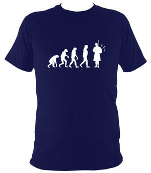 Evolution of Bagpipe Players T-shirt - T-shirt - Navy - Mudchutney
