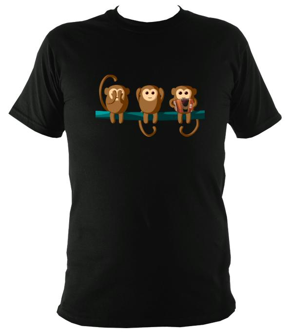 Play No Melodeon Monkeys T-shirt - T-shirt - Black - Mudchutney