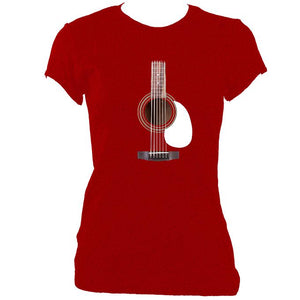 update alt-text with template Guitar Strings and Neck Ladies Fitted T-shirt - T-shirt - Antique Cherry Red - Mudchutney