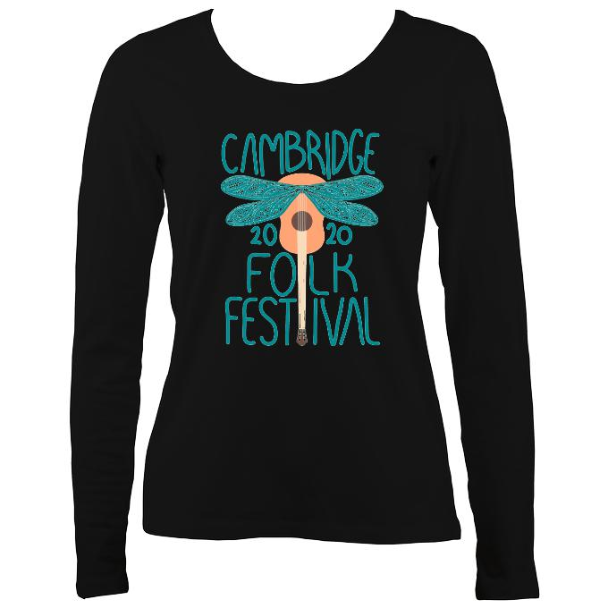 Cambridge Folk Festival - Design 1 - Women's Long Sleeve Shirt - Long Sleeved Shirt - Black - Mudchutney