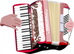 Piano Accordion and Hands T-Shirt - T-shirt - - Mudchutney