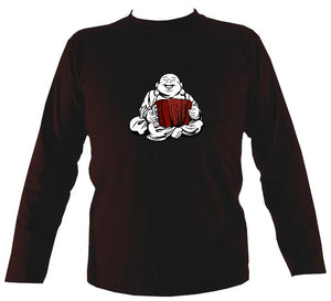 Piano Accordion Playing Buddha Mens Long Sleeve Shirt - Long Sleeved Shirt - Dark chocolate - Mudchutney