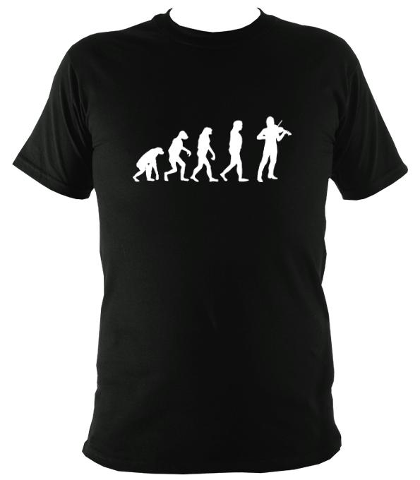 Evolution of Fiddle Players T-shirt - T-shirt - Black - Mudchutney