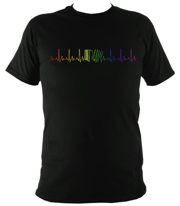 Heartbeat Accordion in Rainbow Colours T-shirt - T-shirt - White - Mudchutney