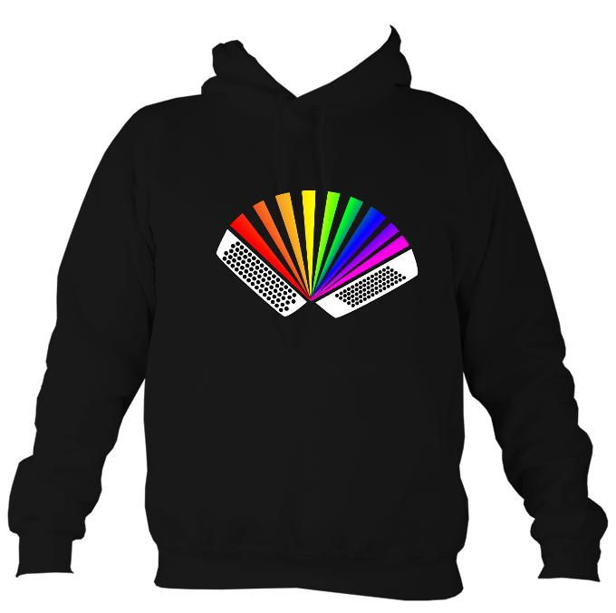 Rainbow Chromatic Accordion Hoodie-Hoodie-Jet black-Mudchutney