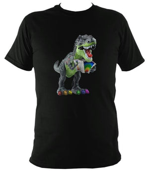 Rainbow Dinosaur Playing Accordion T-shirt - T-shirt - Black - Mudchutney