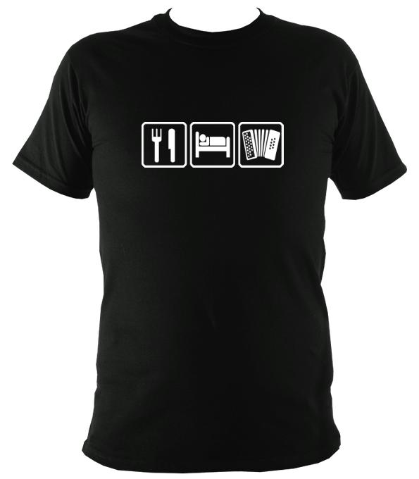 Eat, Sleep, Play Melodeon T-shirt - T-shirt - Black - Mudchutney