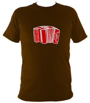 Accordion Sketch T-shirt - T-shirt - Dark Chocolate - Mudchutney
